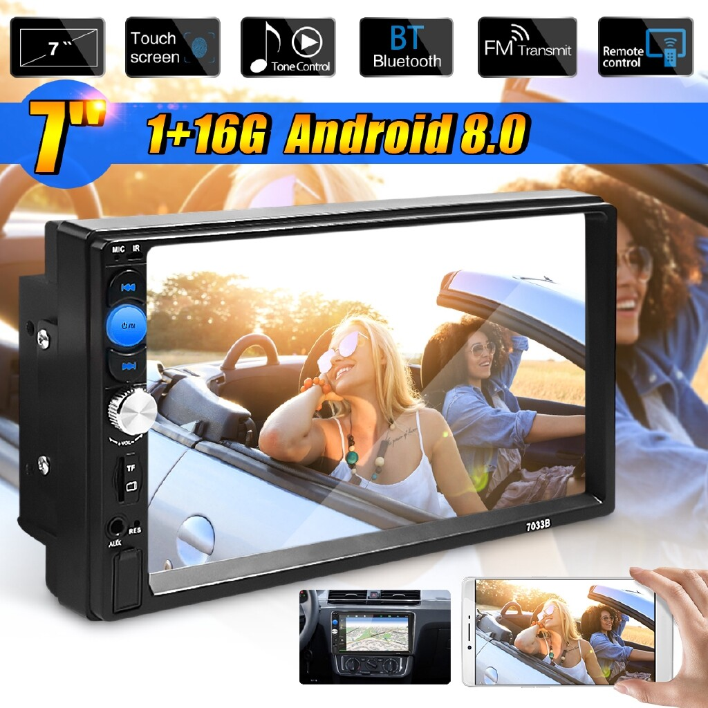 Vehicle GPS - 7\'\' Inch Quad Core Android 8.0 2 Din Car DVD Player WIFI 3G Stereo Player BT - Car Electronics