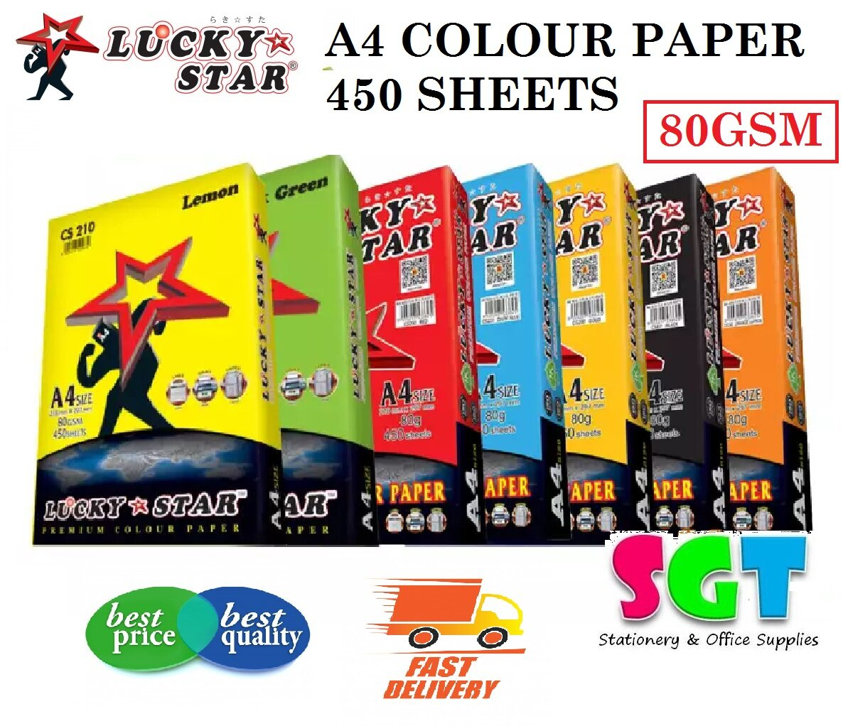 Lucky Star A4 Colour Paper 80gsm 450 Sheets