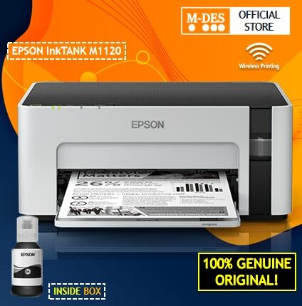 Epson EcoTank Monochrome M1120 Wi-Fi Ink Tank Printer [FREE PAPER ONE A4 70gsm 1 Ream]
