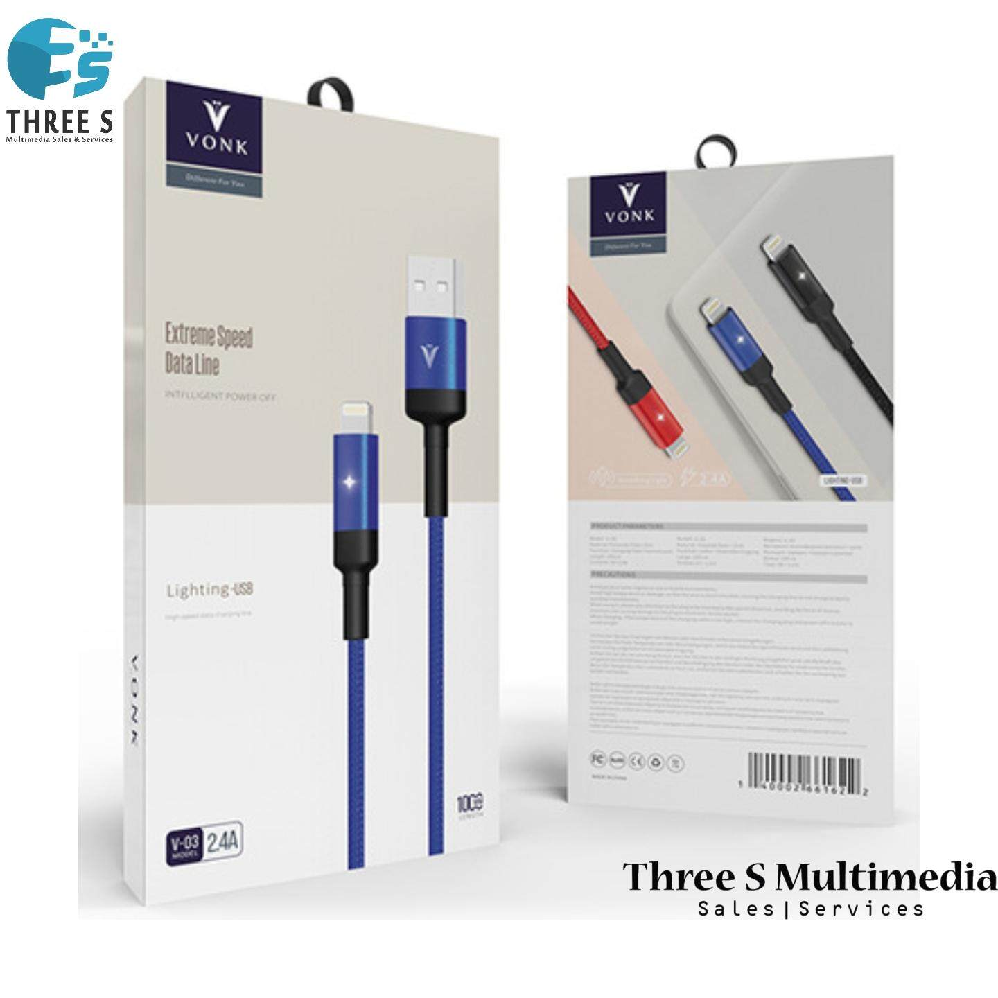 VONK Extreme Speed Data Line Lightning/Type C/Micro USB Cable 2.4A Fast Charger V-03
