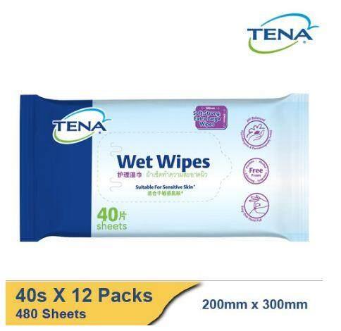 TENA Wet Wipes [40 Sheets x 12 Packs] BUNDLE