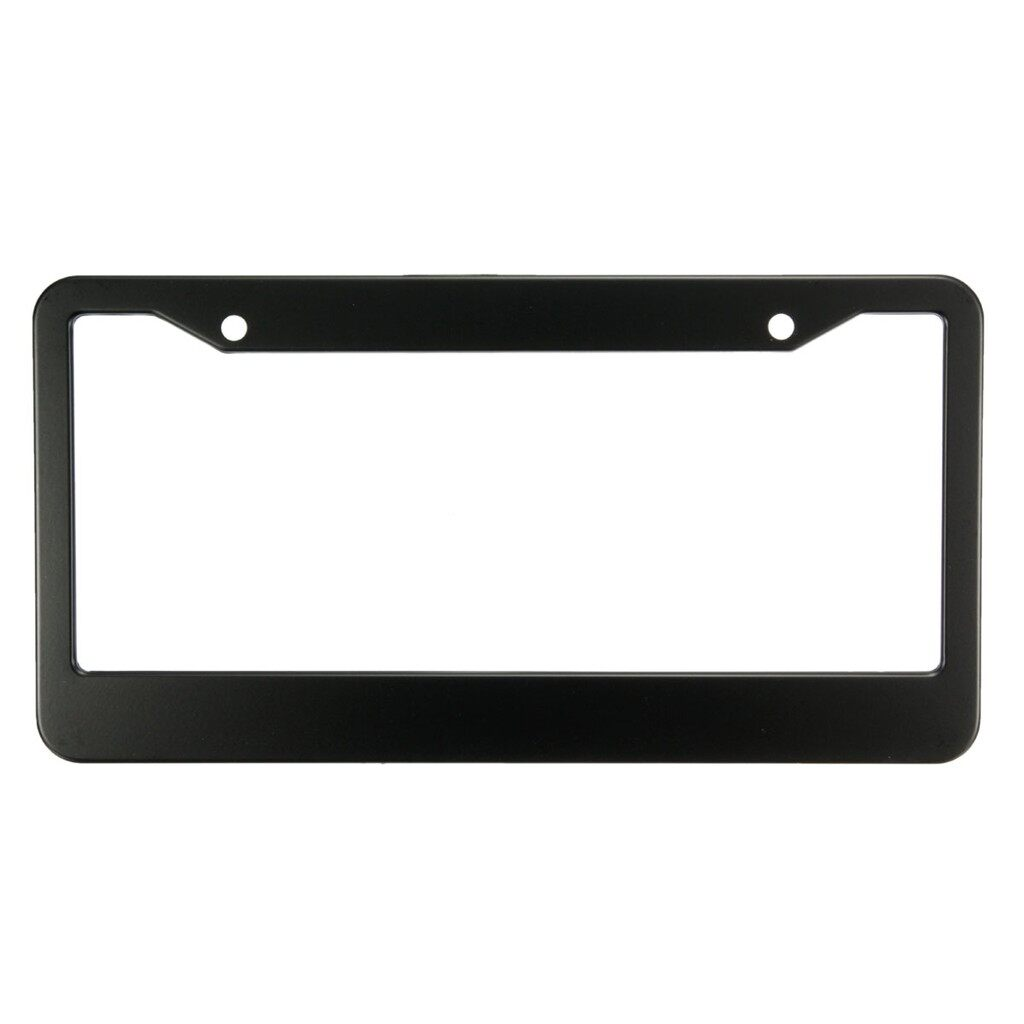 Tyres & Wheels - 2 PIECE(s) Black Metal Stainless Steel License Plate Frames With Screw Caps Tag Cover - Car Replacement Parts