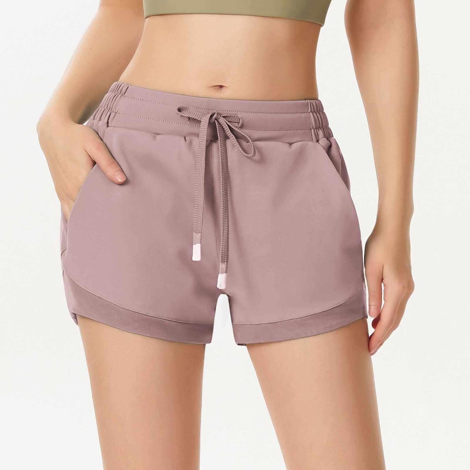 Women Sport Shorts Quick Dry with Mesh Elastic Waistband Pockets High Waist Fitness Gym Workout Yoga Short Pants (Light Purple)