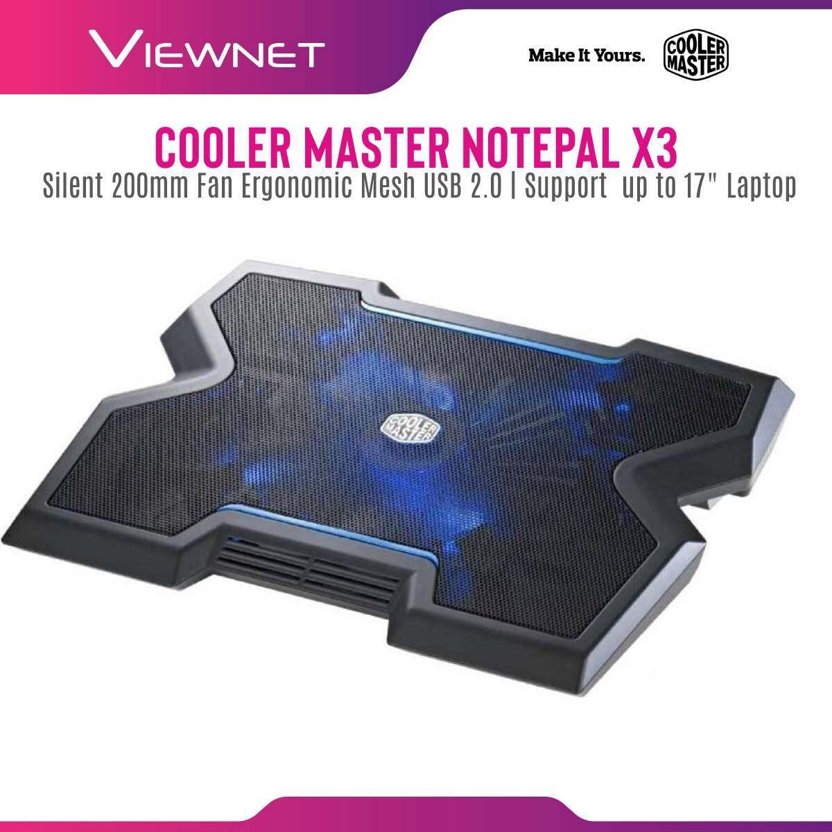 Cooler Master Notepal X3 200mm Silent Adjustable Blue LED Fan Ergonomic Mesh USB 2.0 Gaming Notebook Cooler for up to 17