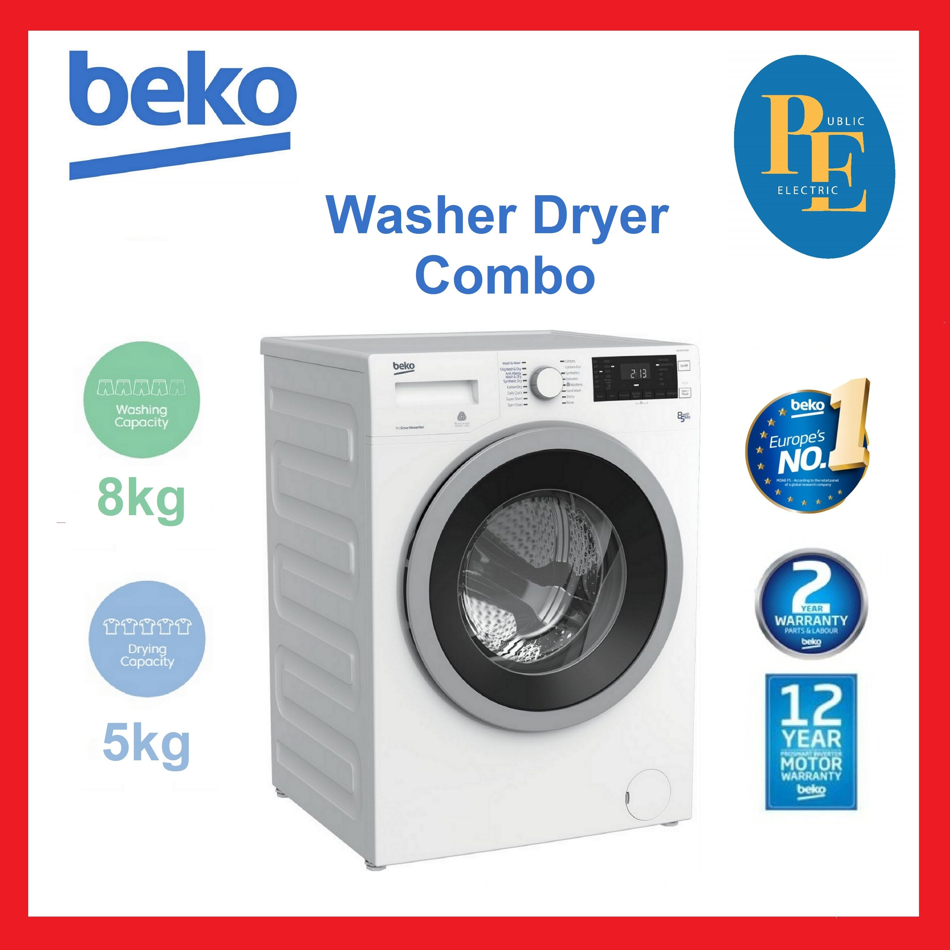 Beko Inverter Front Load Combo Washer Dryer 8kg / 5kg - WDX8543130W