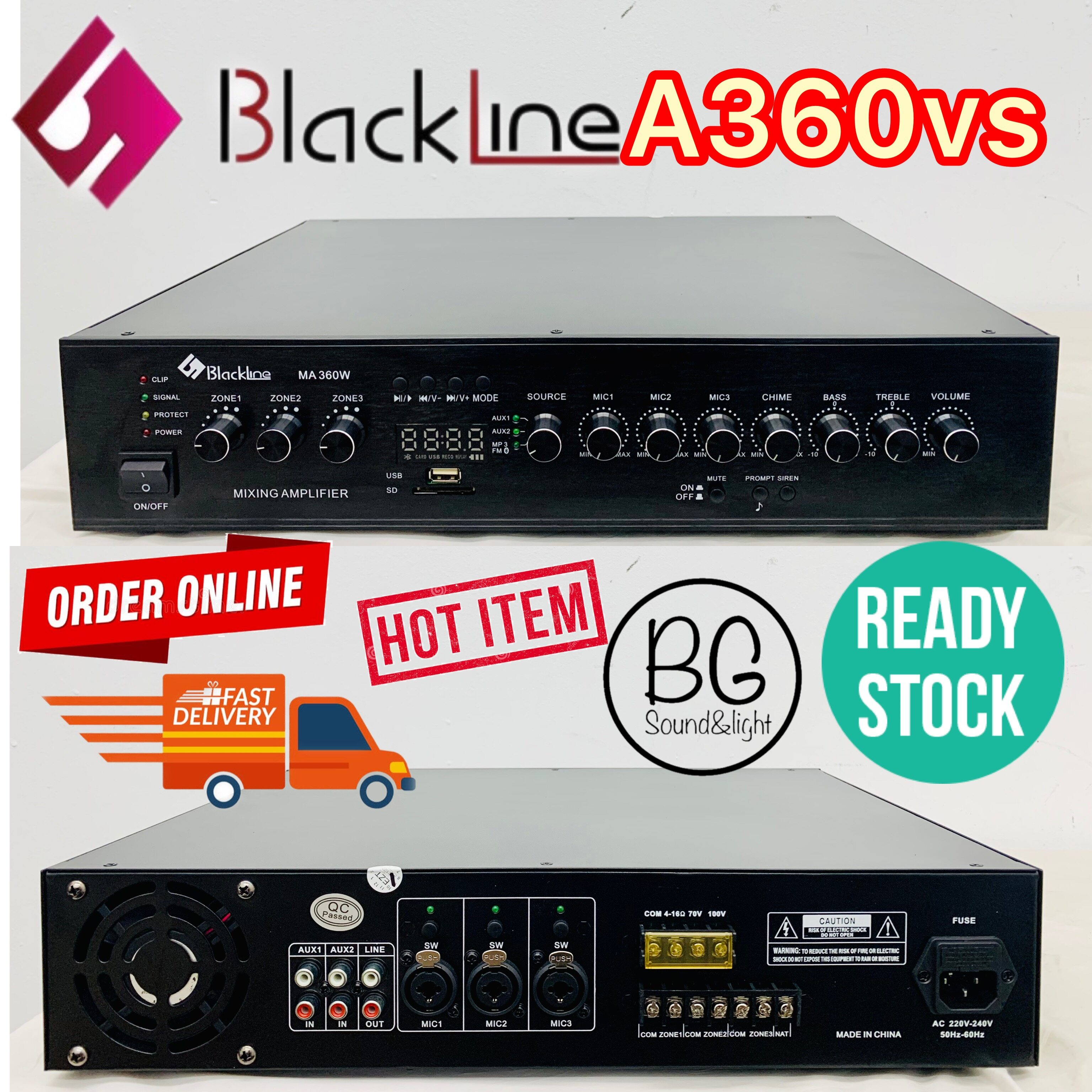 [Ready Stock]Blackline A360VS 360W Public Address PA System Mixing Amplifier With 3 Mic Input/ USB / 3 Zones With Volume