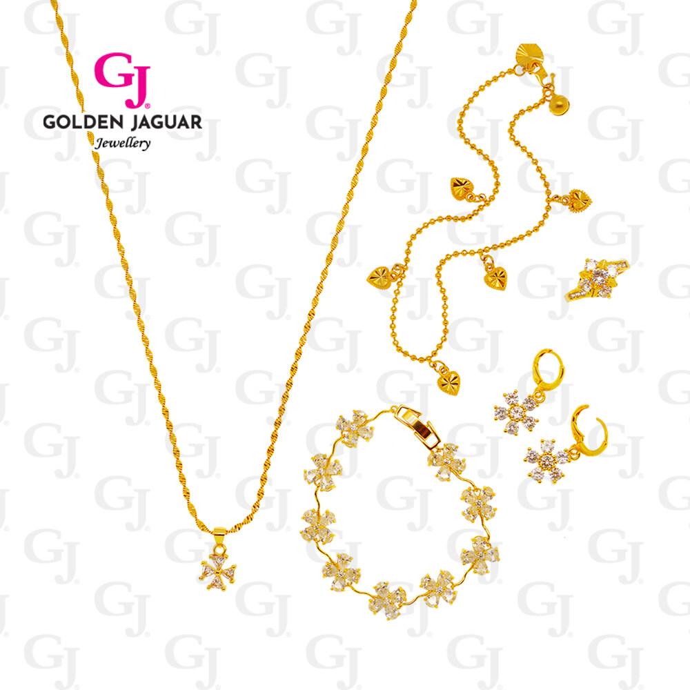 GJ Jewellery Emas Korea 24k Bracelet Combo Set Flower Diamond - Bracelet Anklet Necklace Pendant Earring Premium Set