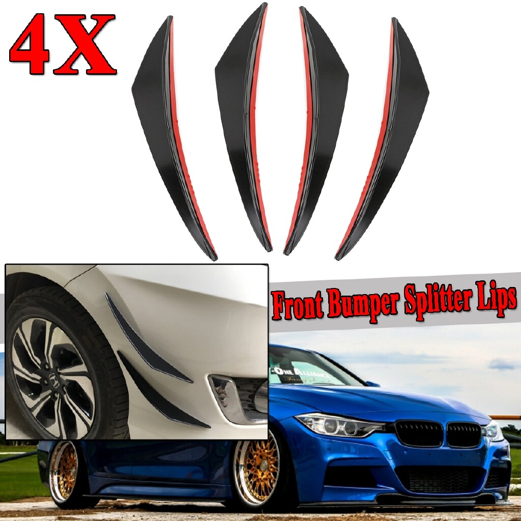 Automotive Tools & Equipment - Carbon Plastic Car Front Bumper Lip Splitter Fins Body Spoiler Canards Valence - Car Replacement Parts