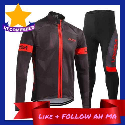 Best Selling Lixada Men\'s Winter Thermal Fleece Cycling Clothing Set Long Sleeve Windproof Cycling Jersey Coat Jacket with 3D Padded Pants Trousers (red)