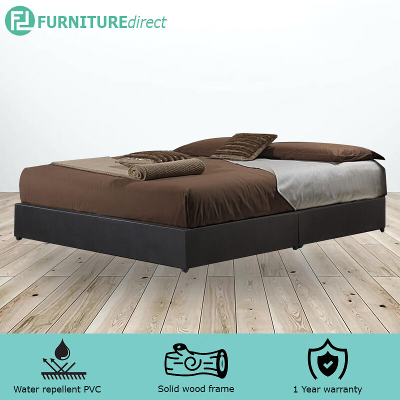 GIOVANNI WATERPROOF PVC DIVAN QUEEN BED BASE – DARK BROWN
