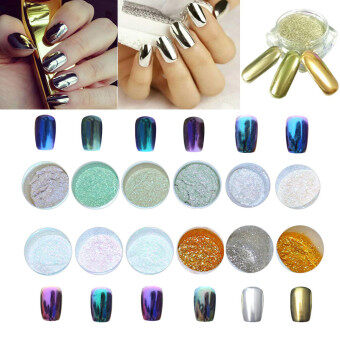 Harga 12 Colors Nail Glitter Powder Shinning Nail Mirror Powder MakeupArt DIY Chrome Pigment With Sponge Stick