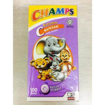 Harga CHAMPS Vitamin C Chewable 100mg 100's (Blackcurrant Flavour)