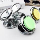 Fashion Mini Stainless Travel Compact Pocket Crystal Folding Makeup Mirror Black - 3
