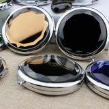 Fashion Mini Stainless Travel Compact Pocket Crystal Folding Makeup Mirror Black - 2
