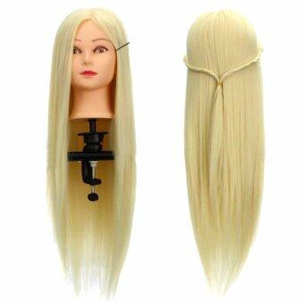 Harga 26'' Human Hair Hairdressing Training Head Mannequin + Clamp Salon Cosmetology 30% Real Human Hair