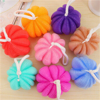 Harga 3 pcs New Fashion Pumpkin Shaped nylon Exfoliante Bath ball Sponge Body Shower Brush Back Scrubber Body cleaner(Color: random)