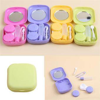 Harga Pocket Mini Contact Lens Case Travel Kit Easy Carry Mirror Container Holder Yellow