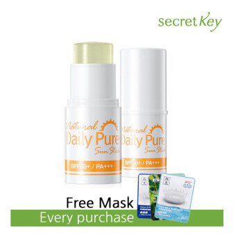 Harga Secret Key Natural Daily Pure Sun Stick (SPF50+ PA+++) + Free 3W Clinic Mask Sheet [Buy 1 Get 1 Freebie]