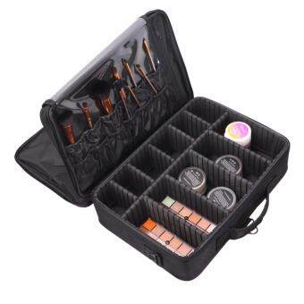 Harga OS Professional Unique Waterproof Compartment Beauty Large Cosmetics Storage Make Up Bag (Black)