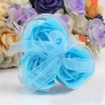 Harga Coconie 3Pcs Scented Rose Flower Petal Bath Body Soap Wedding Party Gift Sky Blue