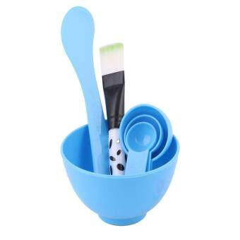 Harga Blue 4 in 1 Cosmetic Tool Make Up Mask Mixing Stick Brush Spoon Bowl Kit