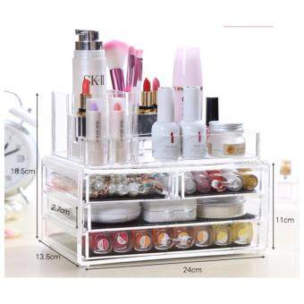 Harga OS 3-Layer Container Organizer Clear Acrylic Box LIpstick Holder Make Up Brush Cosmetics Jewelry Beauty Tool Storage With Drawer