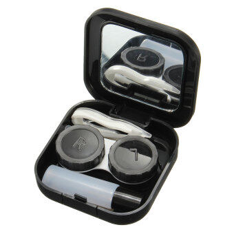 Harga Pocket Mini Contact Lens Case Travel Kit Easy Carry Mirror Container Holder Gift Black