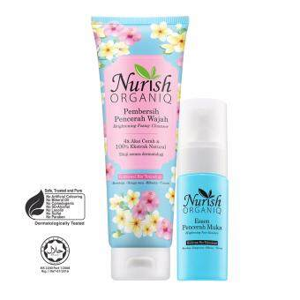 Harga Halal & Organic Whitening : Nurish Organiq [Official] Brightening Foaming Cleanser & Face Essence with FREE Nurish Organiq Brightnening Day Cream sachet