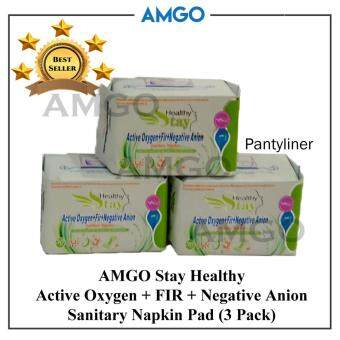 Harga AMGO Stay Healthy Active Oxygen+FIR+Negative Anion Sanitary Napkin Pad (3 Pack),3 Pack Pantyliner Value Package