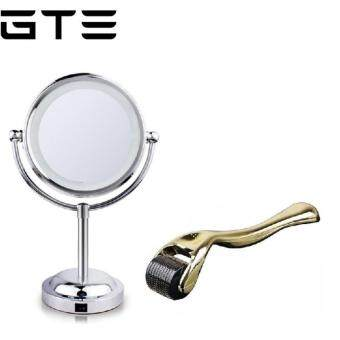 Harga GTE Bundle Deal - Double Side Magnifying LED Makeup Mirror & New Generation Derma Roller 540 Microneedles 0.5mm