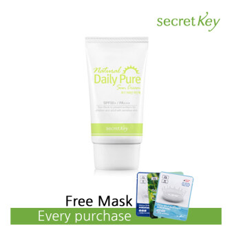 Harga Secret Key Natural Daily Pure Sun Cream (SPF50+ PA+++) + Free 3W Clinic Mask Sheet [Buy 1 Get 1 Freebie]