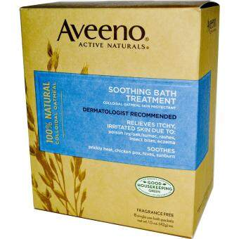 Harga Aveeno Soothing Bath Treatment 100% Colloidal Oatmeal Mask Soothes Sunburn, Chicken Pox, Eczema, rashes, hives, insect bites