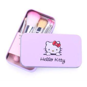 Harga Hello Kitty 7PCS Make Up Brushes Beauty Tools With Box Travel Kit (Purple Pink)