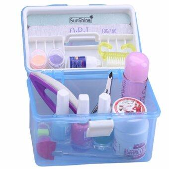 Harga 2 Layer Functional Nail Polish Manicure Tool Make Up Organizer Storage Box (Random Color)