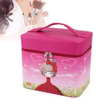 Harga Beautify Large Professional Aluminium Beauty Make Up Nail Cosmetic Box Vanity Case (Magenta)