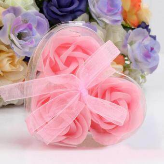 Harga Coconie 3Pcs Scented Rose Flower Petal Bath Body Soap Wedding Party Gift Pink