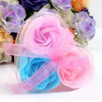Harga Coconie 3Pcs Scented Rose Flower Petal Bath Body Soap Wedding Party Gift Multicolor