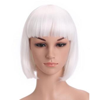 Ladies Straight Flat Bang Short Bob Hair Wig for Halloween Christmas Party Cosplay White