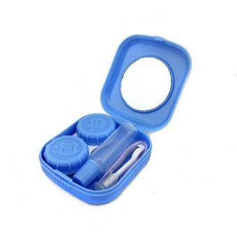 Mini Contact Lens Case Travel Kit Portable Mirror Container Holder(Blue)