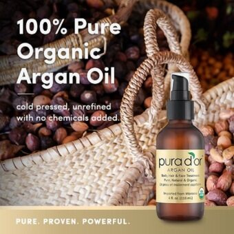 Harga PURA D'OR Moroccan Argan Oil 100% Pure & USDA Organic For Face, Hair, Skin & Nails, 4 Fluid Ounce