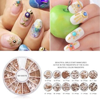 Features 1 Box 3d Nail Art Gold Circle Triangle Diamond Shape Design