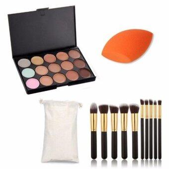 Harga Sinma Professional 15 Colour Make Up Concealer Palette +10 Make Up Brushes + Sponge Beauty Cosmetics Value Pack