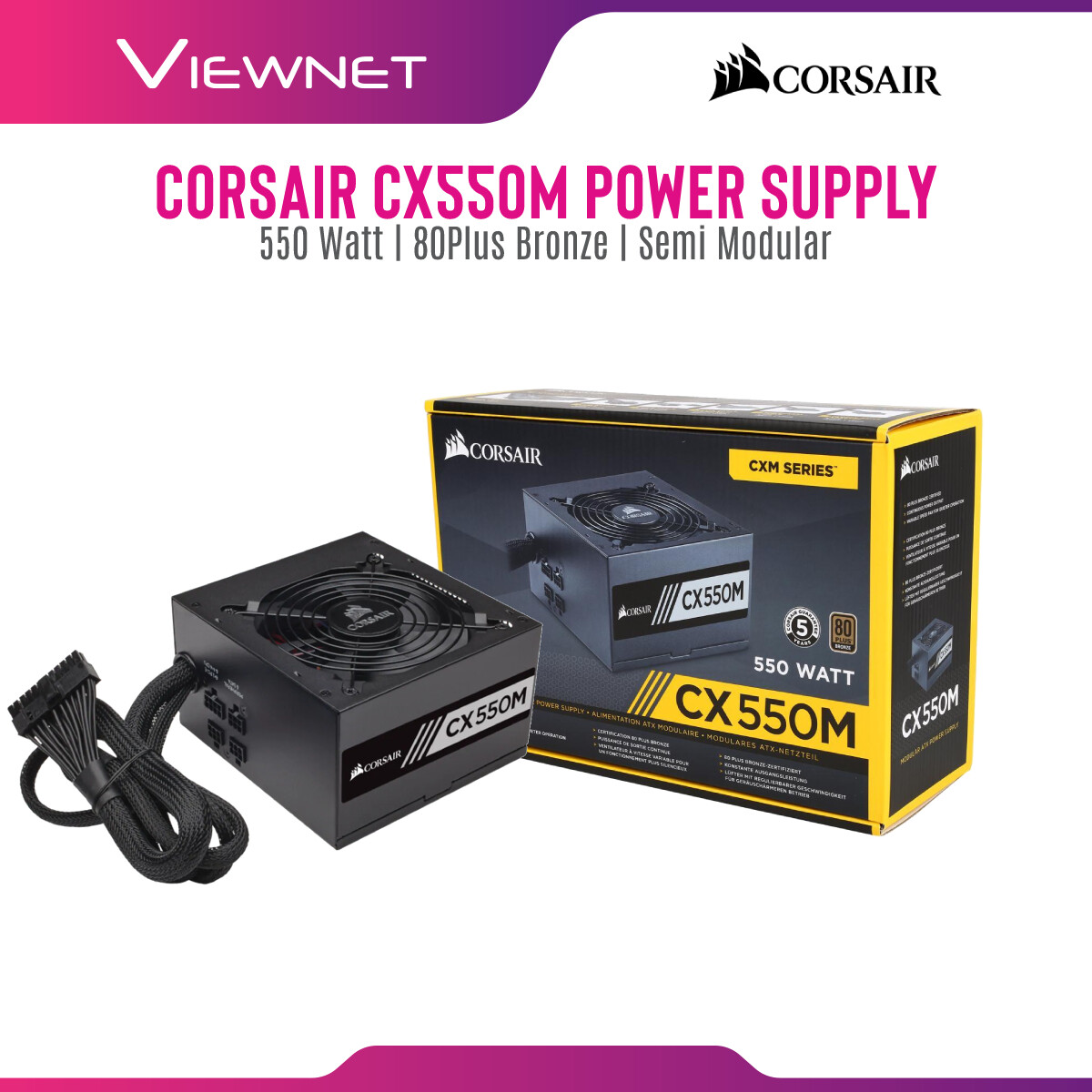 Corsair CX Series™ CX550M Power Supply CP-9020102-UK — 550 Watt 80 PLUS® Bronze Certified Modular ATX PSU