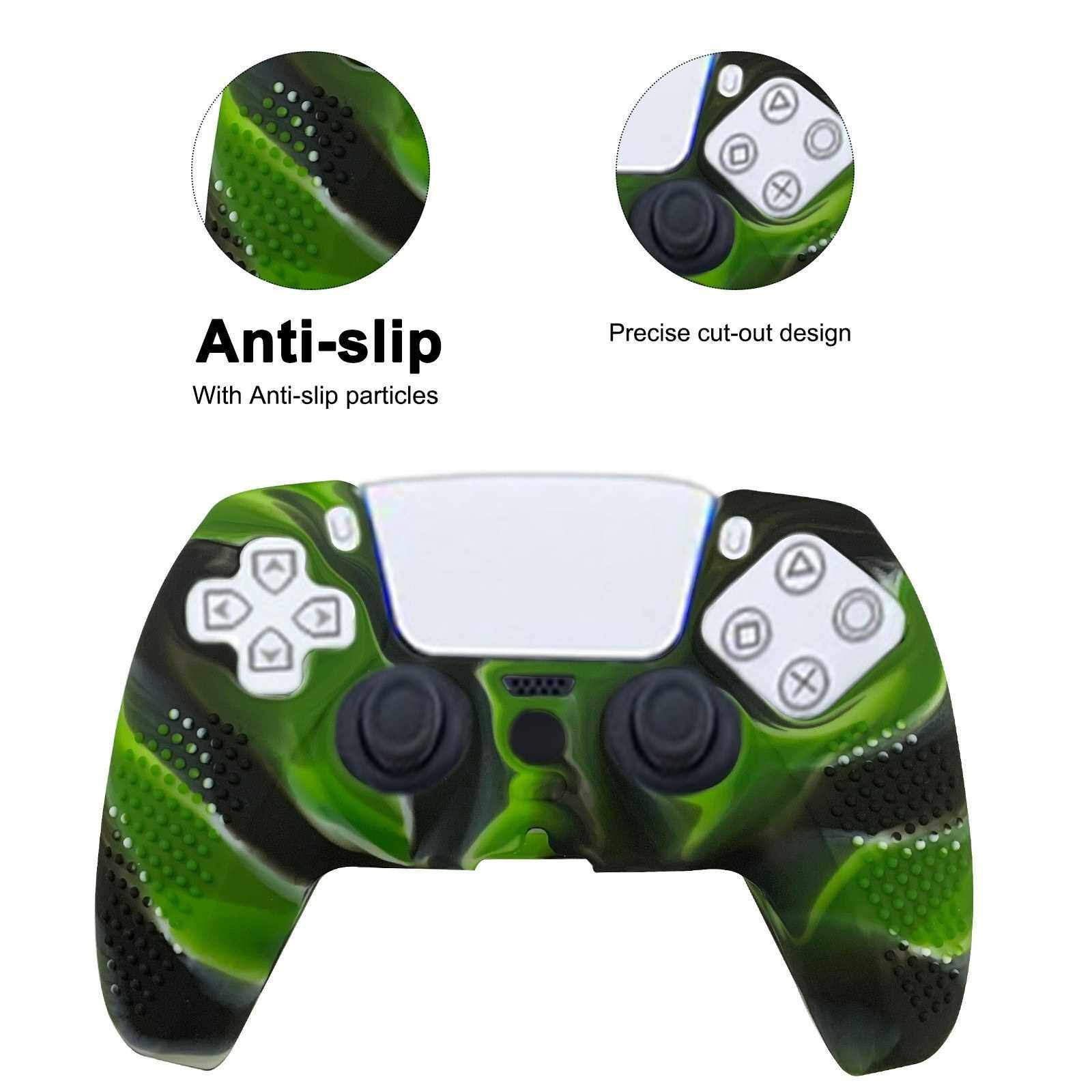 Replacement for PS5 Gamepad Sleeve Silicone Case Dustproof Protective Cover with Anti-slip Particle Compatible with Sony PlayStation PS5 Controller (Camouflage Green)