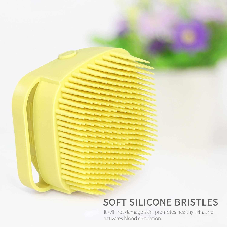 Bath Body Brush with Shampoo Dispenser for Women Soft Silicone Bristles Palm Body Massage Brush Exfoliating Shower Body Bath Brush for Washing Shampooing Massaging (Pink)