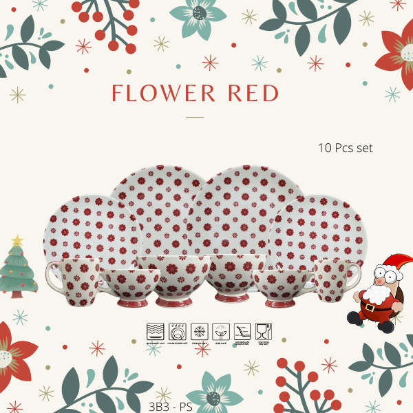 Dinning set--Christmas Promotion-3B3PS-FLOWER RED-Christmas Gift-1212 Promotion