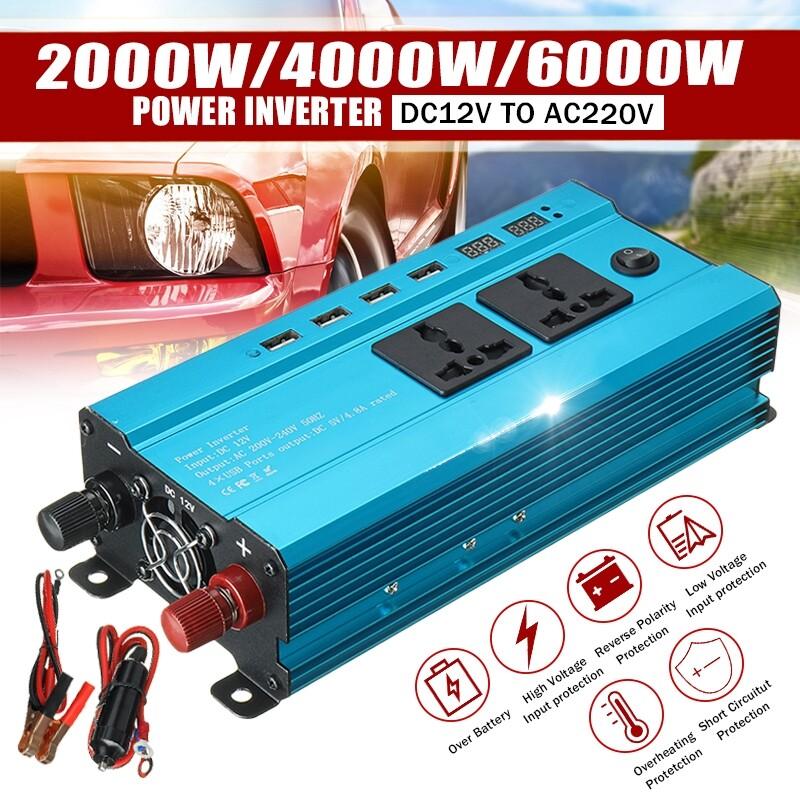 Plugs & Adapters - 2000-6000W Solar Car Power Inverter DC12V to AC220V Sine Wave Converter 4USB - L / S / M