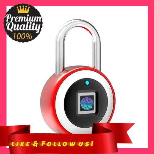 People\'s Choice Smart BT Fingerprint Padlock Unlocking by Fingerprint & APP Rechargeable Keyless 10 Fingerprints IP65 Waterproof Anti-Theft Security Padlock Door Luggage Case Lock (Red)