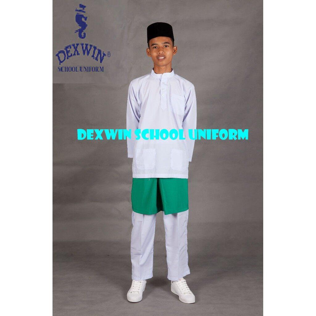 baju melayu putih pakaian sekolah agama kain licin koshibo(SET)
