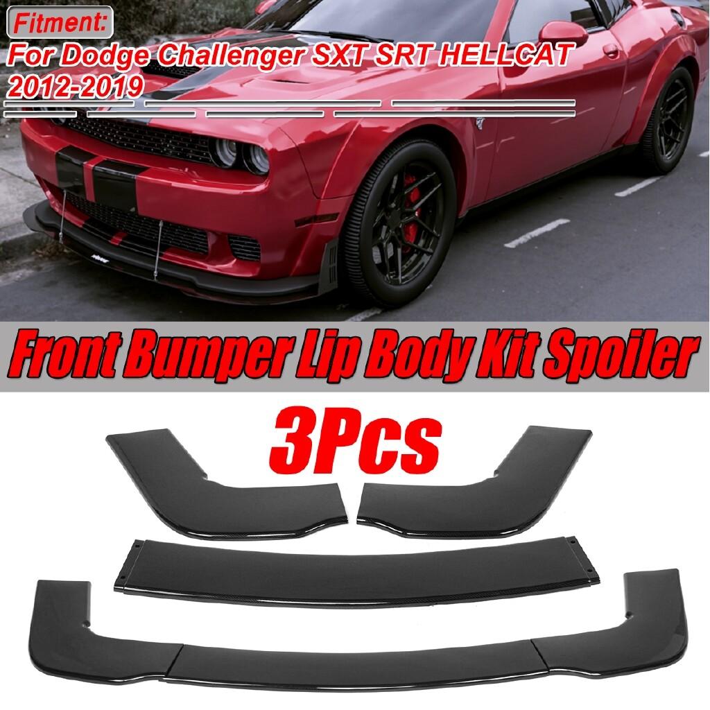 Engine Parts - For 12-19 Dodge Challenger SXT SRT Carbon Black Front Bumper Lip Spoiler Wing - Car Replacement